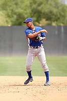 Rafael Valdes #12 of the Chicago Cubs plays in an extended spring training game against the Oakland Athletics at the Athletics minor league complex on May 18, 2011  in Phoenix, Arizona. Valdes, a native of Cuban, was playing in only his second game with the Cubs since arriving in Arizona from the Cubs facility in the Dominican Republic..Photo by:  Bill Mitchell/Four Seam Images.