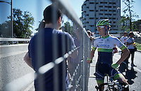 Simon Clarke (AUS/Orica-GreenEDGE) still smiling after finishing stage 17<br /> <br /> stage 17: Tirano - Lugano (SUI) (134km)<br /> 2015 Giro d'Italia
