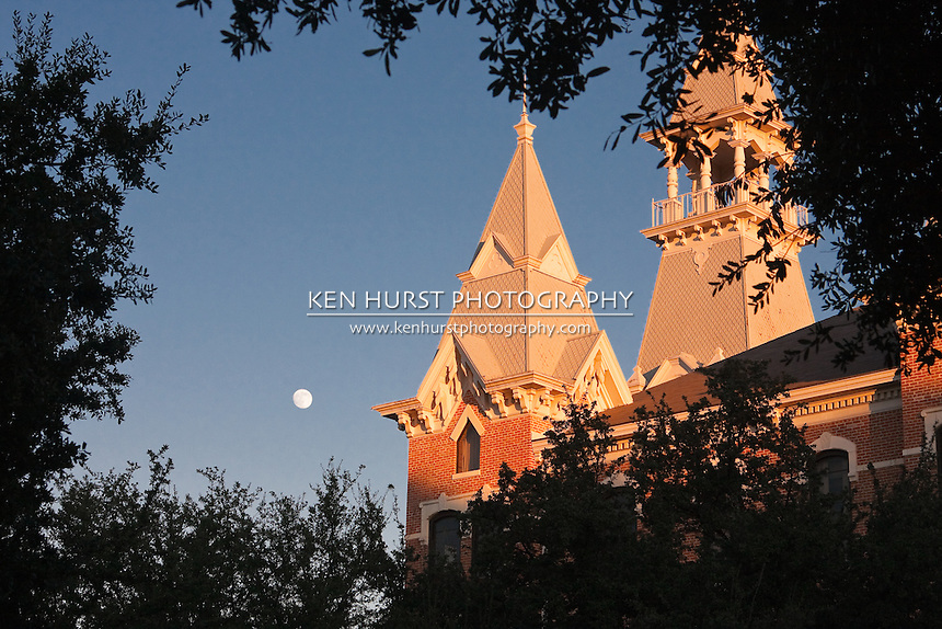 Towers or parapets on Old Main building at Baylor University, Waco, Texas.