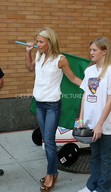 WWW.ACEPIXS.COM ** ** ** ....July 25 2007, New York City....Soapbox Derby winner Tyler Shoff raced both Regis Philbin and Kelly Ripa on a make-shift track on Columbus Avenue outside the studios of 'Live with Regis and Kelly' in midtown Manhattan.....Please byline: Philip Vaughan -- ACEPIXS.COM.. *** ***  ..Ace Pictures, Inc:  ..tel: (646) 769 0430..e-mail: info@acepixs.com..web: http://www.acepixs.com