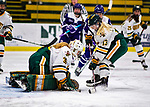 2 February 2020: University of Vermont Catamount Forward Lilly Holmes, a Sophomore from Saratoga Springs, NY, helps her Goaltender Natalie Ferenc, a Freshman from Orchard Lake, MI, make a first period save against the Holy Cross Crusaders at Gutterson Fieldhouse in Burlington, Vermont. The Lady Cats rallied in the 3rd period to tie the Crusaders 2-2 in NCAA Women's Hockey East play. Mandatory Credit: Ed Wolfstein Photo *** RAW (NEF) Image File Available ***