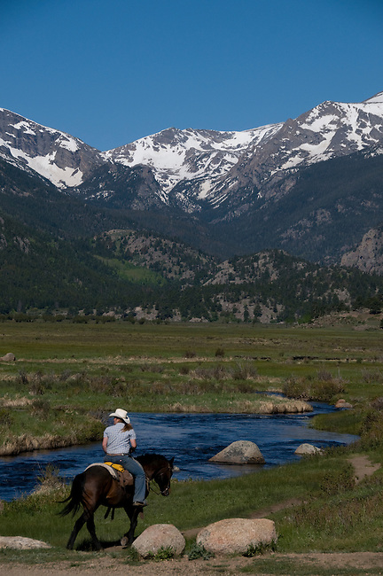 horseback, horse, riding, recreation, adventure, Front Range, snowcaps, peaks, landscape, Big Thompson River, morning, scenic, nature, June, Moraine Park, Rocky Mountain National Park, Colorado, Rocky Mountains, USA