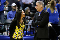 Penn's Kristi Kaniewski UIrich, left, and Columbus North head coach Pat McKee speak before the IHSAA Class 4A Girls Basketball State Championship Game on Saturday, Feb. 27, 2016, at Bankers Life Fieldhouse in Indianapolis.