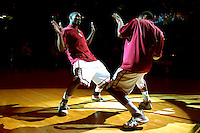 TALLAHASSEE, FL. 2/24/07-Florida State's Ralph Mims, left, and Isaiah Swann dance during the team introduction at the start of the N.C. State game, Saturday at Donald L Tucker Civic Center in Tallahassee. ..COLIN HACKLEY PHOTO