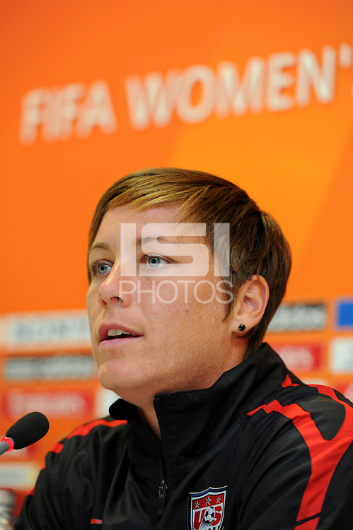 Abby Wambach of team USA at a press conference during the FIFA Women's World Cup at FIFA Stadium in Dresden, Germany on July 9th, 2011.