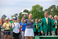 Jennifer Kupcho (USA) is presented with her winners trophy by Fred Ridley Chair Augusta National Golf Club after the final  round at the Augusta National Womans Amateur 2019, Augusta National, Augusta, Georgia, USA. 06/04/2019.<br /> Picture Fran Caffrey / Golffile.ie<br /> <br /> All photo usage must carry mandatory copyright credit (&copy; Golffile | Fran Caffrey)