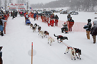 Jeremiah Klejka of Bethel leaves the start line of the 2009 Junior Iditarod on Knik Lake on Saturday Februrary 28, 2009.