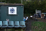 The groundsman's hut, pictured before Nelson hosted Daisy Hill in a North West Counties League first division north fixture at Victoria Park. Founded in 1881, the home club were members of the Football League from 1921-31 and has played at their current ground, known as Little Wembley, since 1971. The visitors won this fixture 6-3, watched by an attendance of 78.