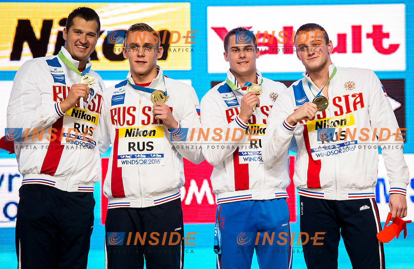 Russia RUS Gold Medal<br /> Men's 4x100m Freestyle <br /> LOBINTSEV Nikita VEKOVISHCHEV Mikhail MOROZOV Vladimir  POPKOV Aleksandr<br /> 13th Fina World Swimming Championships 25m <br /> Windsor  Dec. 6th, 2016 - Day01 Finals<br /> WFCU Centre - Windsor Ontario Canada CAN <br /> 20161206 WFCU Centre - Windsor Ontario Canada CAN <br /> Photo &copy; Giorgio Scala/Deepbluemedia/Insidefoto