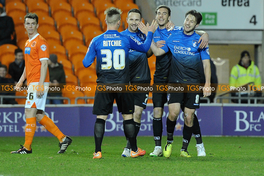 Harry Arter (right) of Bournemouth celebrates his goal and Bournemouth's sixth - Blackpool vs AFC Bournemouth - Sky Bet Championship Football at Bloomfield Road, Blackpool, Lancashire - 20/12/14 - MANDATORY CREDIT: Greig Bertram/TGSPHOTO - Self billing applies where appropriate - contact@tgsphoto.co.uk - NO UNPAID USE