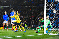 `a36` celebrates the first goal scored by Sokratis Papastathopoulos of Arsenal during Portsmouth vs Arsenal, Emirates FA Cup Football at Fratton Park on 2nd March 2020