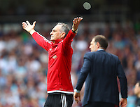 Francesco Guidolin manager of Swansea reacts   during the Barclays Premier League match between West Ham United and Swansea City  played at Boleyn Ground , London on 7th May 2016