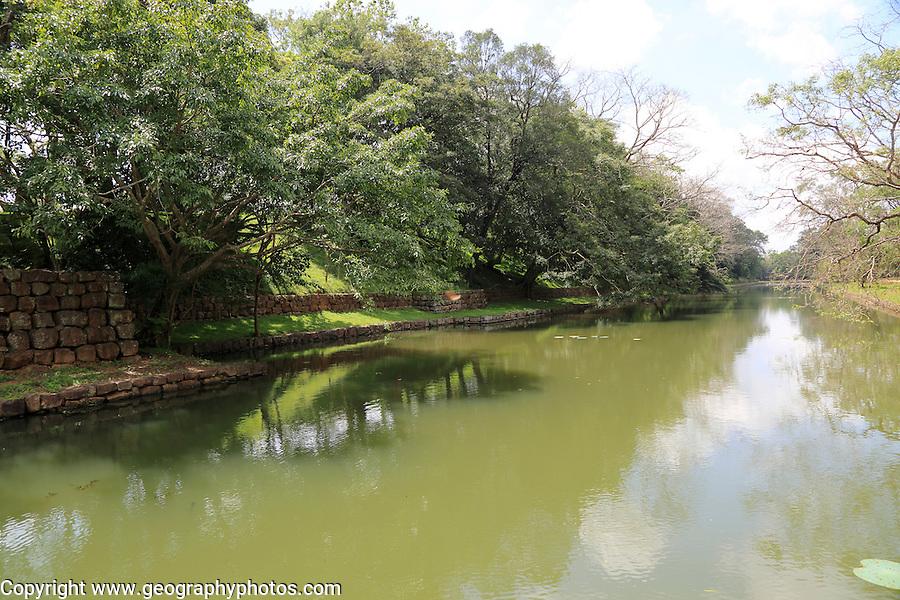 Water filled moat at the rock palace gardens Sigiriya, Central Province, Sri Lanka, Asia