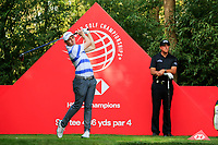 Matthew Fitzpatrick (ENG) watched by Phil Mickelson (USA) on the 9th tee during round 1 at the WGC HSBC Champions, Sheshan Golf Club, Shanghai, China. 31/10/2019.<br /> Picture Fran Caffrey / Golffile.ie<br /> <br /> All photo usage must carry mandatory copyright credit (© Golffile | Fran Caffrey)