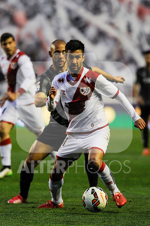 Rayo Vallecano´s Alberto Bueno and Malaga CF´s Nordin Amrabat during 2014-15 La Liga match between Rayo Vallecano and Malaga CF at Rayo Vallecano stadium in Madrid, Spain. March 21, 2015. (ALTERPHOTOS/Luis Fernandez)