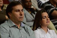 RIO DE JANEIRO, RJ, 28 JULHO 2012 - JMJ2013-PREPARAI O CAMINHO- Rodrigo Maia e Clarissa Garotinho no evento Preparai o Caminho,no maracanazinho, inicio da preparacao para a Jornada Mundial da Juventude-JMJ2013,no Rio de Janeiro, neste sabado dia 28, maracana, zona norte do rio.(FOTO: MARCELO FONSECA / BRAZIL PHOTO PRESS).