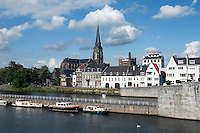 Netherlands, Province Limburg, Maastricht: View across the River Maas to the east bank