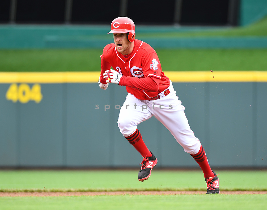 Cincinnati Reds Patrick Kivlehan (3) during a game against the Philadelphia Phillies on April 6, 2017 at Great American Ballpark in Cincinnati, OH. The Reds beat the Phillies 4-7.