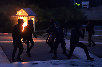 Pictured: Protesters outside the Parliament Thursday 18 May 2017<br /> Re: Clashes between anti fourth memorandum protesters and riot police in front of the Parliament building in Syntagma Square, Athens, Greece