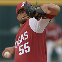 NWA Democrat-Gazette/ANDY SHUPE<br />Arkansas starter Isaiah Campbell delivers to the plate against South Carolina Saturday, April 14, 2018, during the second inning at Baum Stadium. Visit nwadg.com/photos to see more photographs from the game.
