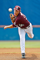 June 11, 2011:    Mississippi State Bulldogs lhp Nick Routt (36) pitches during NCAA Gainesville Super Regional Game 2 action between Florida Gators and Mississippi State Bulldogs played at Alfred A. McKethan Stadium on the campus of Florida University in Gainesville, Florida.   Mississippi State defeated Florida 4-3.........
