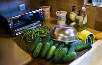 Cucumbers and green beans are washed before being canned by Wall Street Journal reporter Ana Campoy (cq) in Dallas, Texas, USA, Saturday, Sept. 12, 2009. Growing produce or buying locally grown vegetables and canning at home is a fun and healthy way to keep grocery costs down...CREDIT: Matt Nager for The Wall Street Journal