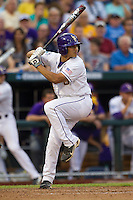 LSU Tiger third baseman Christian Iberra (14) at bat during Game 4 of the 2013 Men's College World Series against the UCLA Bruins on June 16, 2013 at TD Ameritrade Park in Omaha, Nebraska. UCLA defeated LSU 2-1. (Andrew Woolley/Four Seam Images)