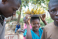 Africa, DRC, Democratic Republic of the Congo, Katana. Women for Women project. Banana sellers.