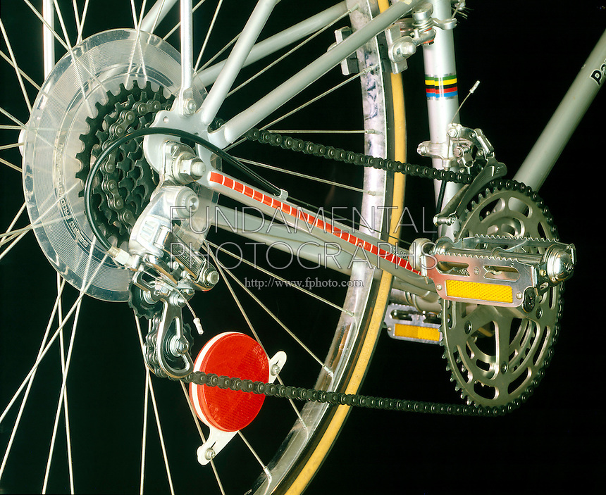 GEAR TRAIN- Bicycle<br /> 12-speed bicycle with gear train. A gear train is a system of gears arranged to transfer rotational torque from one part of a mechanical system to another.