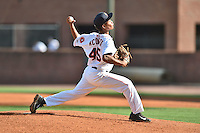 Greeneville Astros starting pitcher Yhoan Acosta (44) delivers a pitch during a game against the  Pulaski Yankees on July 11, 2015 in Greeneville, Tennessee. The Yankees defeated the Astros 9-3. (Tony Farlow/Four Seam Images)