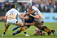 Sam Underhill of Bath Rugby is tackled by Nizaam Carr of Wasps. Gallagher Premiership match, between Bath Rugby and Wasps on May 5, 2019 at the Recreation Ground in Bath, England. Photo by: Patrick Khachfe / Onside Images