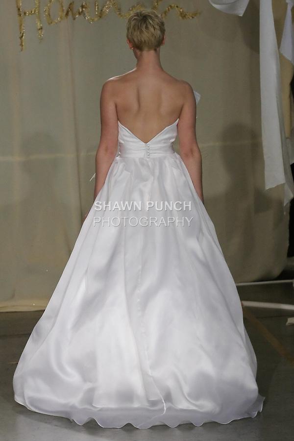 Model walks runway in a Magnolia wedding dress by Carol Hannah Whitfield, for the Carol Hannah Spring Summer 2012 Bridal collection runway show.
