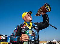 Jul 28, 2019; Sonoma, CA, USA; NHRA funny car driver Robert Hight celebrates after winning the Sonoma Nationals at Sonoma Raceway. Mandatory Credit: Mark J. Rebilas-USA TODAY Sports