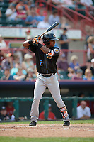 Akron RubberDucks left fielder Dorssys Paulino (2) at bat during a game against the Erie SeaWolves on August 27, 2017 at UPMC Park in Erie, Pennsylvania.  Akron defeated Erie 6-4.  (Mike Janes/Four Seam Images)