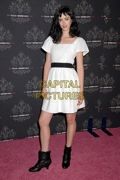 KRYSTEN RITTER.T-Mobile Sidekick LX Launch Party at Griffith Park, Los Angeles, California, USA..October 16th, 2007.full length white dress black ankle boots belt .CAP/ADM/BP.©Byron Purvis/AdMedia/Capital Pictures.
