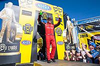 Sep 16, 2018; Mohnton, PA, USA; NHRA top fuel driver Richie Crampton during the Dodge Nationals at Maple Grove Raceway. Mandatory Credit: Mark J. Rebilas-USA TODAY Sports