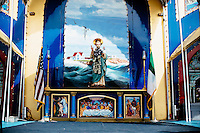 The statue of St. Peter stands on a stage during St. Peter's Fiesta in Gloucester, Massachusetts, USA.