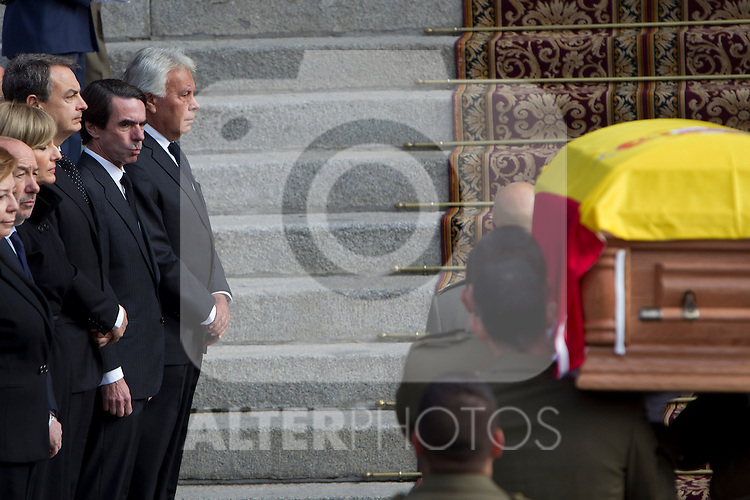 Former Prime Ministers, José Luis Rodríguez Zapatero, José María Aznar and Felipe González during the arrival of the coffin before the funeral chapel in honor of Prime Minister Adolfo Suarez in the Congress of Deputies in Madrid, Spain. March 24, 2014. (ALTERPHOTOS / Marin Caro)