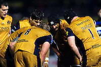 The Bristol Rugby forwards huddle together during a break in play. Aviva Premiership match, between Bath Rugby and Bristol Rugby on November 18, 2016 at the Recreation Ground in Bath, England. Photo by: Patrick Khachfe / Onside Images