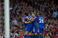 Leicester City's Shinji Okazaki celebrates with team mates after scoring his sides equalising goal to make the score 1-1<br /> <br /> Photographer Craig Mercer/CameraSport<br /> <br /> The Premier League - Arsenal v Leicester City - Friday 11th August 2017 - Emirates Stadium - London<br /> <br /> World Copyright &copy; 2017 CameraSport. All rights reserved. 43 Linden Ave. Countesthorpe. Leicester. England. LE8 5PG - Tel: +44 (0) 116 277 4147 - admin@camerasport.com - www.camerasport.com