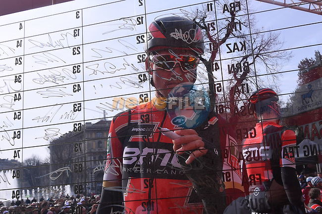 Greg Van Avermaet (BEL) BMC Racing Team at sign on before the start of the 108th edition of Milan-San Remo 2017 by NamedSport the first Classic Monument of the season running 291km from Milan to San Remo, Italy. 18th March 2017.<br /> Picture: La Presse/Gian Mattia D'Alberto | Cyclefile<br /> <br /> <br /> All photos usage must carry mandatory copyright credit (&copy; Cyclefile | La Presse)