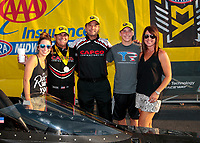 Sep 29, 2019; Madison, IL, USA; NHRA top fuel driver Billy Torrence celebrates with crew and family after winning the Midwest Nationals at World Wide Technology Raceway. Mandatory Credit: Mark J. Rebilas-USA TODAY Sports