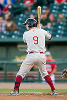Mitch Haniger (9) of the Wisconsin Timber Rattlers at bat against the Great Lakes Loons at the Dow Diamond on May 4, 2013 in Midland, Michigan.  The Timber Rattlers defeated the Loons 6-4.  (Brian Westerholt/Four Seam Images)