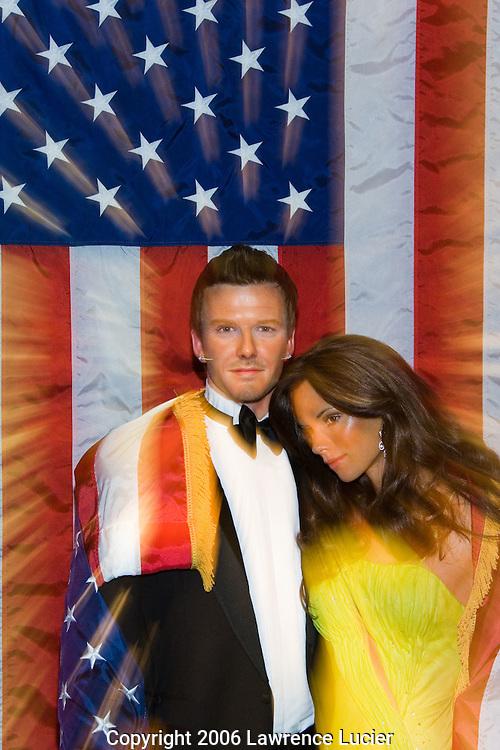 David Beckham and Victoria Beckham wax figures
