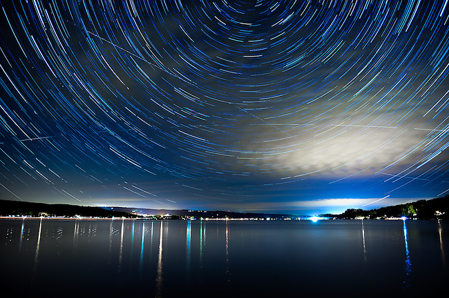 Long exposures make up this star trail over Keuka Lake in Penn Yan, New York.