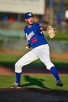 Ogden Raptors starting pitcher Nolan Long (56) delivers a pitch to the plate against the Great Falls Voyagers in Pioneer League action at Lindquist Field on August 16, 2016 in Ogden, Utah. Ogden defeated Great Falls 2-1. (Stephen Smith/Four Seam Images)