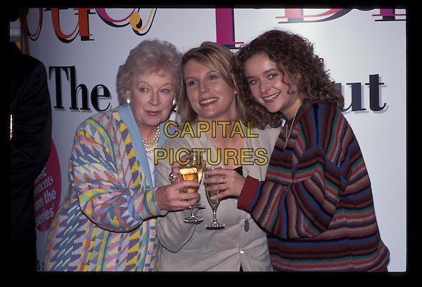 JENNIFER SAUNDERS, JUNE WHITFIELD & JULIA SAWAHLA.Ref:3407.pattern cardigan, stripe sweater, champagne, toast, half length, half-length.RAW SCAN - PHOTO WILL BE ADJUSTED FOR PUBLICATION.www.capitalpictures.com.sales@capitalpictures.com.©Capital Pictures.