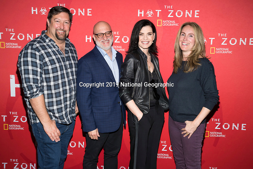 "NEW YORK - MAY 23: Brian Peterson, Julianna Margulies and Kelly Souders attends an FYC event for National Geographic's ""The Hot Zone"" at Metrograph on May 23, 2019 in New York City. (Photo by Ben Hider/National Geographic/PictureGroup)"