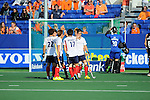 The Hague, Netherlands, June 01: Players of Korea celebrate the umpires decision for a penalty during the field hockey group match (Men - Group B) between the Black Sticks of New Zealand and Korea on June 1, 2014 during the World Cup 2014 at GreenFields Stadium in The Hague, Netherlands. Final score 2:1 (1:0) (Photo by Dirk Markgraf / www.265-images.com) *** Local caption ***
