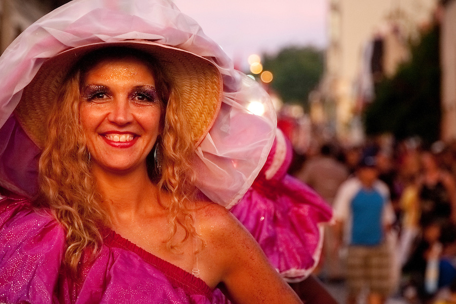A dancer in the parade of Llamadas during Carnaval in Montevideo, Uruguay.